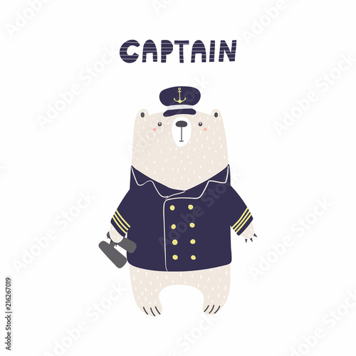 Papiers peints Des Illustrations Hand drawn vector illustration of a cute funny bear sailor in captain cap, with binoculars, text. Isolated objects on white background. Scandinavian style flat design. Concept for kids, nursery print.