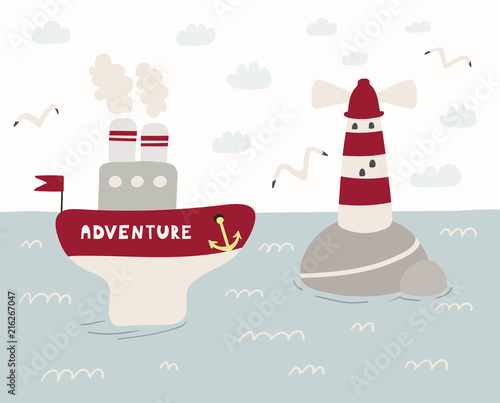 Printed kitchen splashbacks Illustrations Hand drawn vector illustration of a cute funny ship named Adventure sailing, lighthouse, seagulls, clouds. Scandinavian style flat design. Concept for kids, nursery print.
