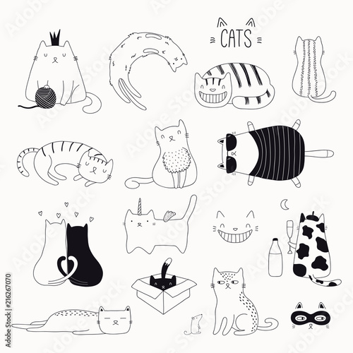 Printed kitchen splashbacks Illustrations Set of cute funny black and white doodles of different cats. Isolated objects. Hand drawn vector illustration. Line drawing. Design concept for poster, t-shirt, fashion print.