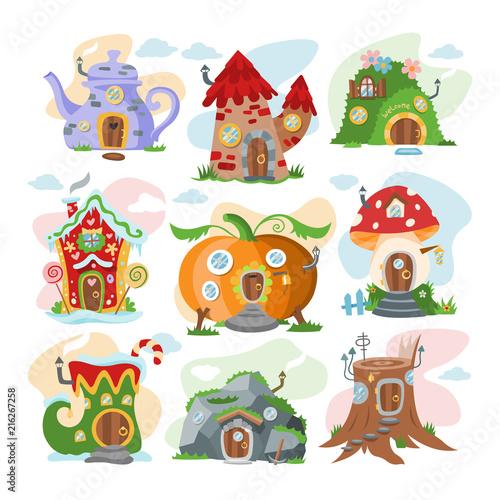Fotografie, Obraz  Fantasy house vector cartoon fairy treehouse and magic housing village illustrat