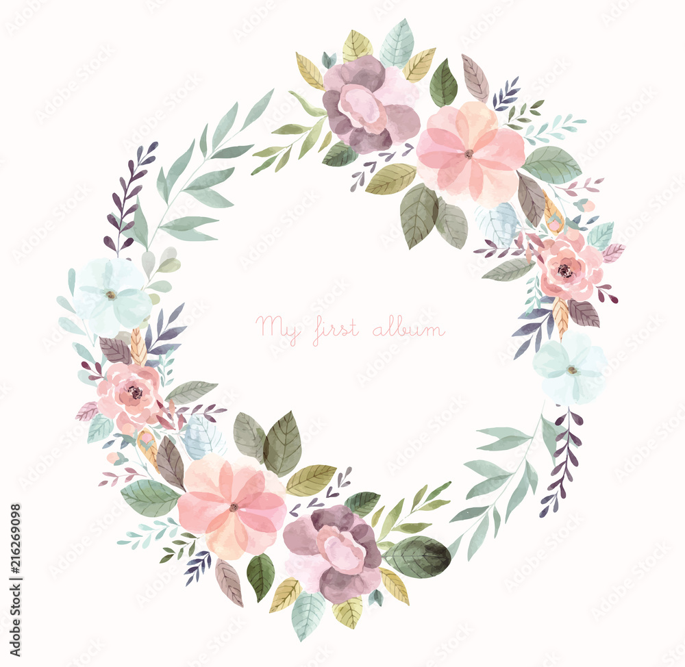 Fototapeta Watercolor illustration with floral wreath