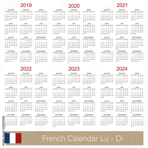Fotografia  French calendar 2019 - 2024 / French calendar week starts on Monday, simple cale