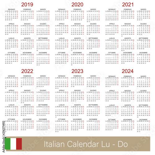 Italian calendar 2019 - 2024 / Italian calendar week ...