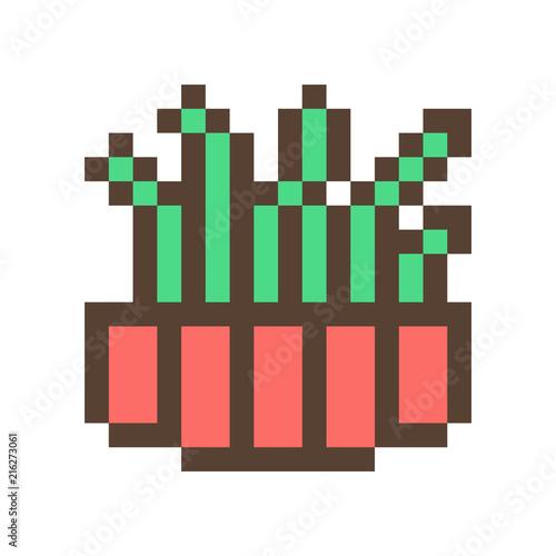 Green Cactussucculent In Clay Flower Pot 16x16 Pixel Art Icon