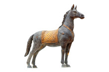 Bronze Statue Of The Horse On White Background