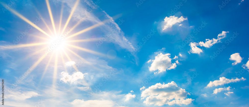 Fototapety, obrazy: Hot summer or heat wave background, blue sky with glowing sun