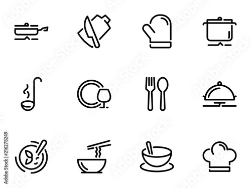 Fototapeta Set of black vector icons, isolated on white background, on theme Kitchenware. Cooking and serving of dishes obraz