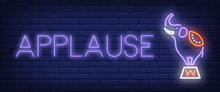 Applause Neon Style Banner. Te...
