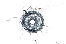 Broken Glass Single Bullet Hol...