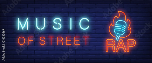 Music of street, rap neon style banner Wallpaper Mural