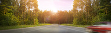 The Road In The Pine Forest, The Rays Of The Sun Through The Trees, The Machine In Motion, The Blur