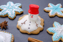 Handmade Christmas Cookies, Melted Snowman With Red Hut And Snowflake Gingerbread