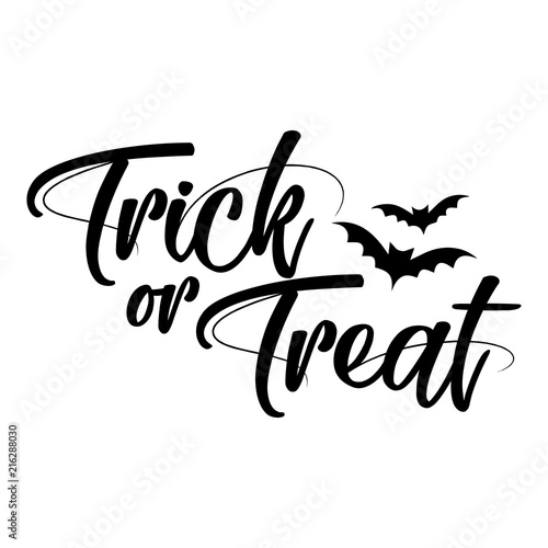 Halloween Quote.Trick Or Treat Halloween Quote On White Background Good