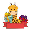 cute and adorable giraffe with gifts