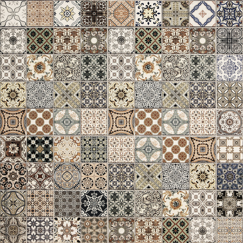 Old wall ceramic tiles patterns handcraft from thailand parks public Wall mural