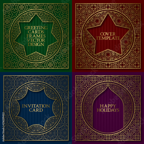 Golden patterned frames set. Vintage design of greeting cards backgrounds in asian traditional style. Brochure, album cover, nameplate, signboard templates.