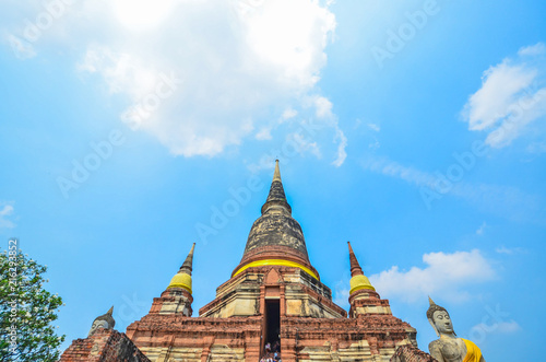 Deurstickers Bedehuis Ayutthaya, Thailand-March 24, 2018: Wat Yai Chai Mongkhon or the Great Monastery of Auspicious Victoryis