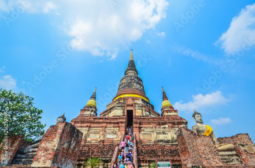 Deurstickers Bedehuis Ayutthaya, Thailand-March 24, 2018: Wat Yai Chai Mongkhon or the Great Monastery of Auspicious Victoryis
