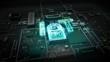 Hologram typo 'IoT' on CPU chip circuit, grow Internet of things. 4k movie.