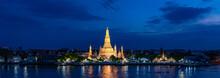 Wat Arun Temple At Magic Hour Time, Bangkok, Thailand