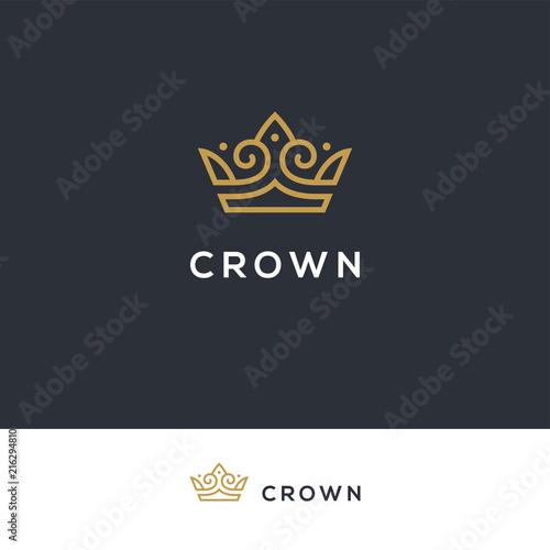 Linear elegant crown logo. Tableau sur Toile