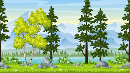 Fototapeta Do przedszkola Seamless Cartoon Nature Background