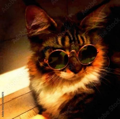 Malarstwo akrylowe na plakat artystyczny. Grafika w stylu nowoczesnym. Współczesny cyfrowy duży druk w wysokiej rozdzielczości. Surrealistyczne zwierzęta w jasnym projekcie. Graficzny rysunek fantasy. Śmieszny kot.