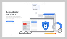 The General Data Protection Regulation. Exchange Design Flat Concept. Technology Web, Internet Information Data Integration And Transforming. Data Provision. Vector