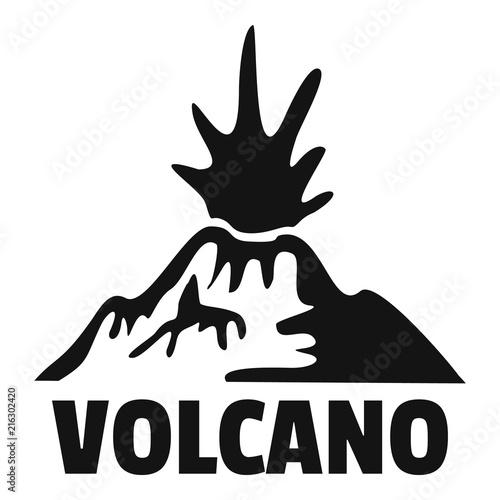 Erupting volcano logo Fototapet