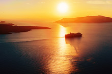 Silhouette Of A Cruise Ship In Sunset Light
