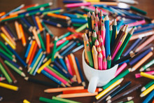 Stack Of Colored Pencils In A ...