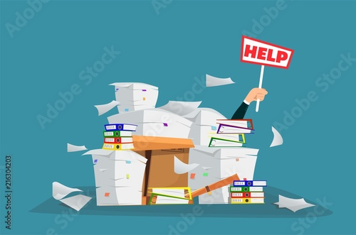 Fotografía  Businessman in pile of office papers and documents with help sign