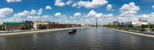 Panoramic View Of Moscow River And Monument To Peter The Great From The Crimean Bridge In Moscow