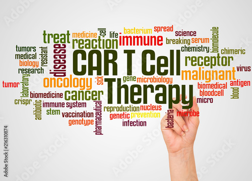 CAR T Cell Therapy word cloud and hand with marker concept Wallpaper Mural