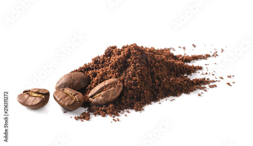 Coffee beans and Ground coffee and on white background
