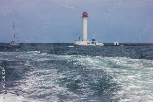 Foto op Aluminium Vuurtoren Odessa, Ukraine. Lighthouse Vorontsov harbor sea view