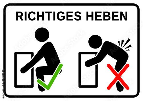 Valokuva  nbss1 NewBigSafetySign nbss - RICHTIGES HEBEN: falsch und richtig - Beim Heben v