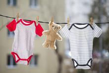 Baby Girl And Boy Body And Teddy Bear