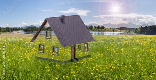 Obraz Grünes ökologisches Naturhaus in der Landschaft - fototapety do salonu
