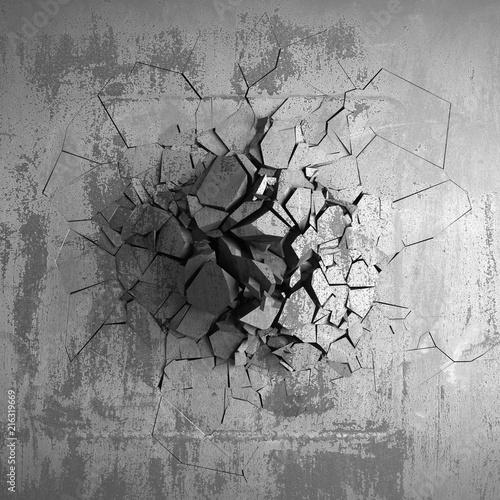 Fototapeta  Dark cracked broken hole in concrete wall. Grunge background