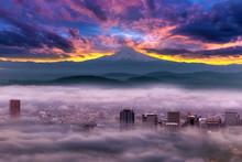 Dramatic Sunrise Over Foggy Downtown Portland