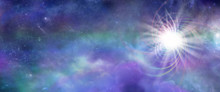 Massive Deep Space Cosmic Energy Event - Wide Panel Of Cosmic Purple And Jade Clouds,  Stars, Planets And Dark Blue Outer Space With A Massive Irradiating Light Burst Big Bang  On Right