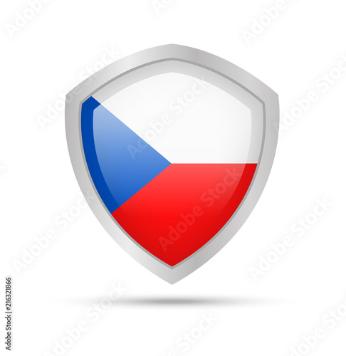 Shield with Czech Republic flag on white background Poster