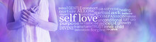 Self Love Word Cloud - Female Torso Holding Hands Over Heart Against A Pink Purple Background With A SELF LOVE Word Cloud To The Right Side