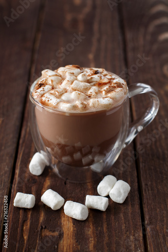 Glass cup of cocoa with marshmallow