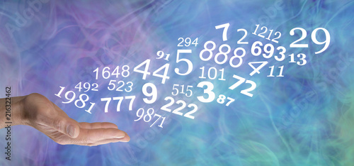Consult a Numerologist and learn about your personal NUMBERS - male open palm with a stream of random numbers flowing upwards on a blue green purple wispy smokey background