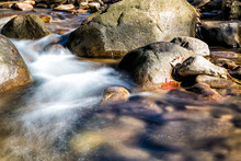 Closeup Of Shallow Rock Stream With Smooth Running Water And Waterfall In Autumn, Stones And Long Exposure Flowing Creek