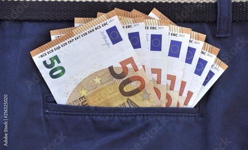 money fifty euros in pocket