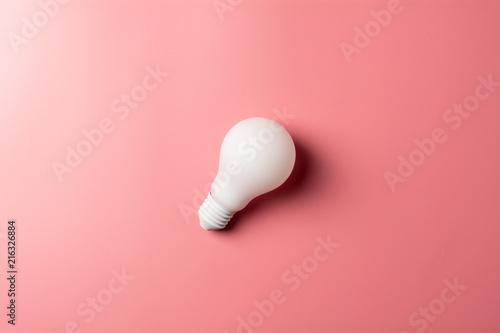 Fotografie, Obraz  white classic light bulb on pink background