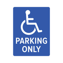 Wheelchair, Handicapped Or Accessibility Parking Only Sign Flat Blue Vector Icon For Apps And Print